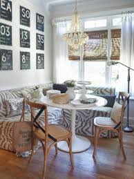 stylish breakfast nook design idea with zebra sofa and round white