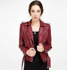 women leather u0026 suede fashion motorcycle pu jacket spring red wine