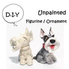 3 pieces unpainted schnauzer mini ceramic figurine