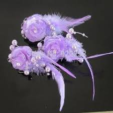 Corsage And Boutonniere Prices Artificial Silk Small Glitter Roses Beads Feather With Clip Floral