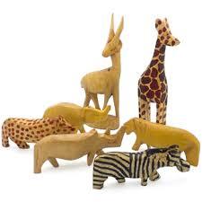 carved wood miniature safari animal figurines set of 7 animal