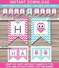 owl birthday banner template birthday banner editable bunting