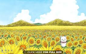 vibrant wallpaper a dog in a field of flowers one of the less abstract but still