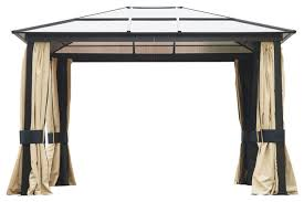 outsunny 12 u0027x10 u0027 outdoor patio gazebo canopy with mesh and