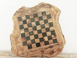 large rustic olive wood chess board set 17 7 inch engraved chess