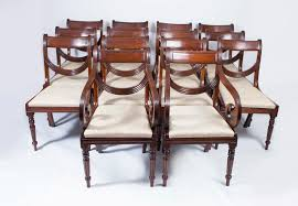 Solid Mahogany Dining Table Set 16 Regency Style Mahogany Swag Back Dining Chairs Dining