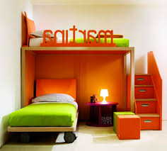 bedroom decorating combination colour orange and brick wall idolza