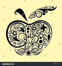 decorative apple ornament fruit symbol stock vector
