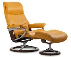 ekornes stressless view medium leather recliner and ottoman