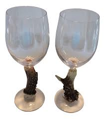 Antler Wine Rack by Big Sky Carvers Deer Antler Stem Wine Glasses A Pair Chairish
