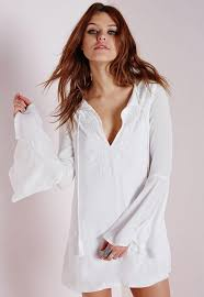 bell sleeve embroidered swing dress white missguided