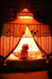 circus tent bed canopy with light curtain inside little girls