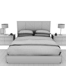 bed with wooden base restoration hardware herringbone 3d model max obj