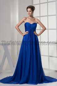 strapless royal blue a line chiffon formal dress evening gown