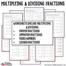 multiplying and dividing fractions worksheets bundle printables