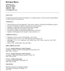 Qa Automation Engineer Resume Resume Template Qa Objective Software Quality Within Sample Test