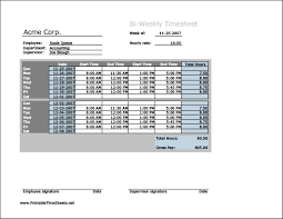 Bi Weekly Timesheet Template Excel Biweekly Timesheet Horizontal Orientation Printable Sheet