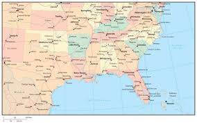 map us south usa south region map with state boundaries roads capital and major