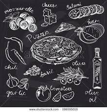 Retro Chalkboards For Kitchen by Hand Drawn Vector Illustration Pizza Set Vintage Sketch