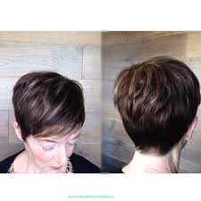 short textured pixie cut dark hair light blonde caramel highlights
