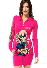 women u0027s death of love knitted zip up hoody in berry ed hardy
