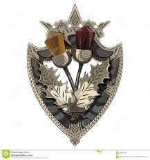 celtic scottish brooch in the shape of a shield with crown