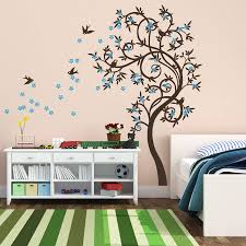 tree bird wall stickers stylish curved tree with birds wall sticker
