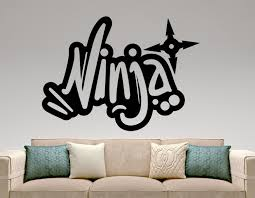 ninja graffiti wall decal vinyl sticker home interior design zoom