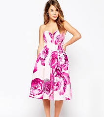 asos bright pink floral bandeau midi prom dress in pink lyst