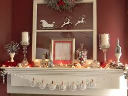 white silver and red christmas mantel organize and decorate