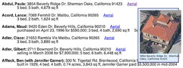 Celebrity Home Addresses   hollywood celebrity addresses with aerial views in the greater los