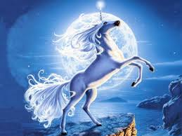 blue and white painting horse drawing moon cool white painting moonlight twilight full