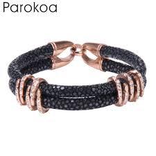rose stainless steel bracelet images Trendy black leather bracelet with rose gold stainless steel beads jpg