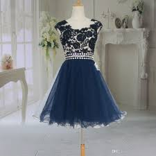 kids girls graduation dress dark navy tulle and lace a line real