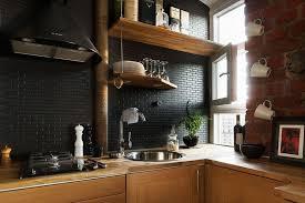 Black Kitchen Backsplash Ideas Astonishing Design Black Tile Backsplash Pleasurable Ideas Black