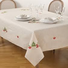 embroidered tree design linen blend tablecloth