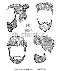man hairstyle set handdrawn sketches vector stock vector 399462388
