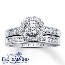 leo diamond ring kayoutlet leo diamond bridal set 1 1 8 ct tw cut 14k white