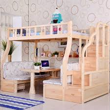 Bunk Bed Picture Bed Ladder Cabinet Pine Wood On Shelves Study Table - Study bunk bed