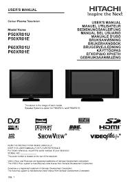 hitachi p50xr01u user manual