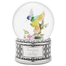 hummingbird musical snow globe
