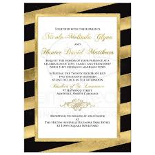 black and gold wedding invitations bold diagonal stripes wedding invitation black gold white