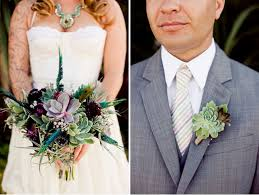 succulent boutonniere smog shoppe eco chic wedding stacey mike bridal bouquets
