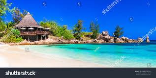 most beautiful tropical beaches seychelles praslin stock photo