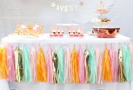 apricot orange mint green pink gold tissue paper tassel