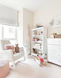 White Rocking Chair Nursery Nursery White Rocking Chair With Pink Pouf Transitional Nursery