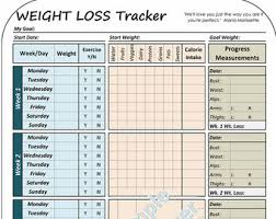 printable weight loss diet chart weight loss tracker printable weight loss tracker planner