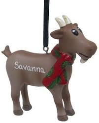 farm goat with and green scarf personalized ornament