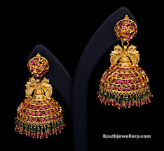 temple design gold earrings gold and gemstone temple earrings jewellery designs