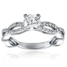 twisted band engagement ring mazal brilliant cut engagement ring with